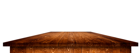 Empty wooden table perspective with clipping path