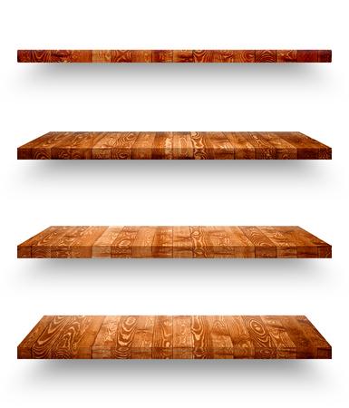 Wooden shelf isolated on white background Stock Photo