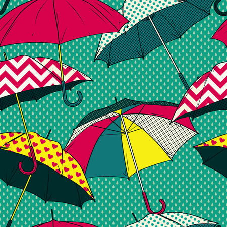 autumn fashion: Seamless pattern with colorful umbrellas