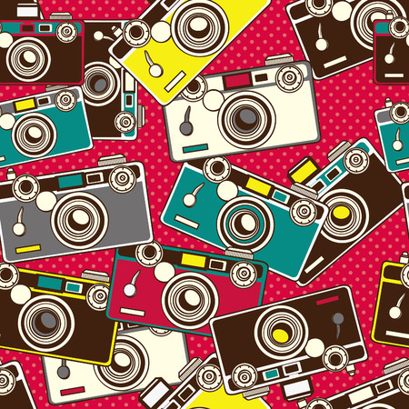 digital camera: vintage colorful photo cameras seamless pattern