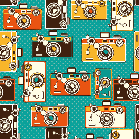 vintage colorful photo cameras seamless pattern