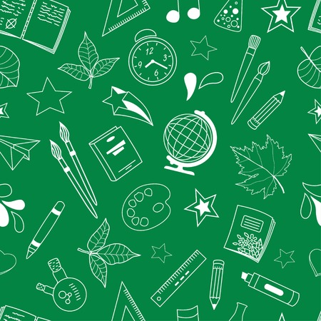Seamless pattern with school doodles  Vector illustration Vector