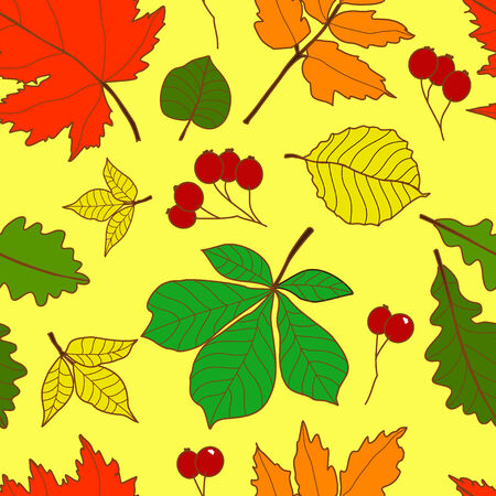 Vector seamless pattern with colorful fall leaves