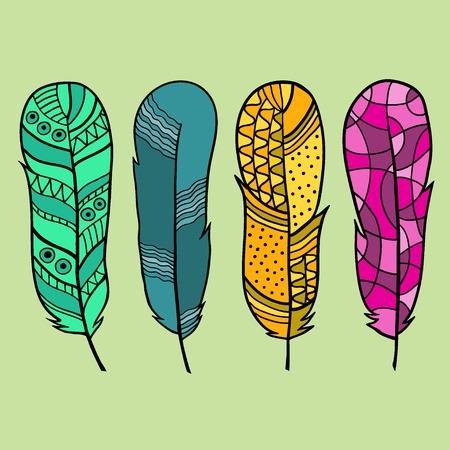 Set of four isolated hand drawn feather. Vector Vector