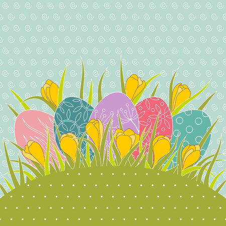 Ostern: Easter eggs in grass and yellow crocuses. Vector