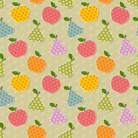 Seamless cute bright colorful retro apple and pear vector pattern Vector