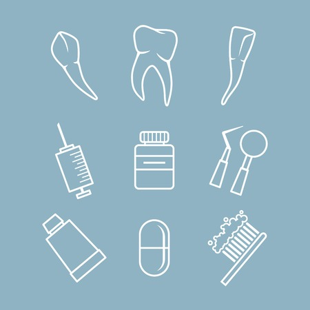 stomatology icon: Vector dental icons set on colored background Illustration
