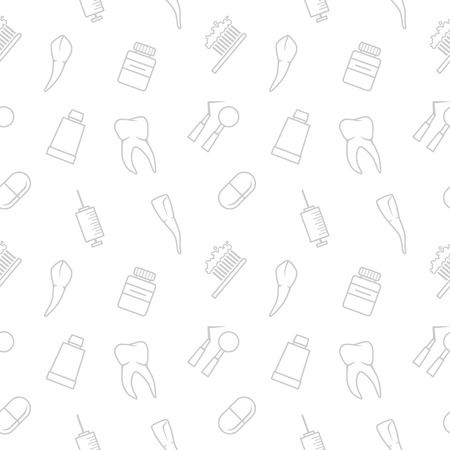 Seamless teeth vector pattern on white background