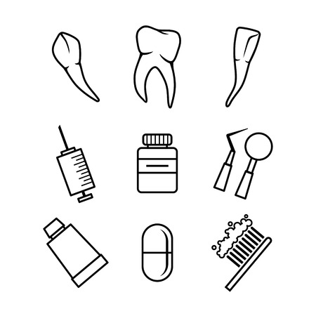 Black Dental Icons Set On White Background Vector