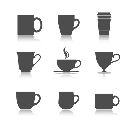 Tea and coffee cup set. Vector illustration Ilustração