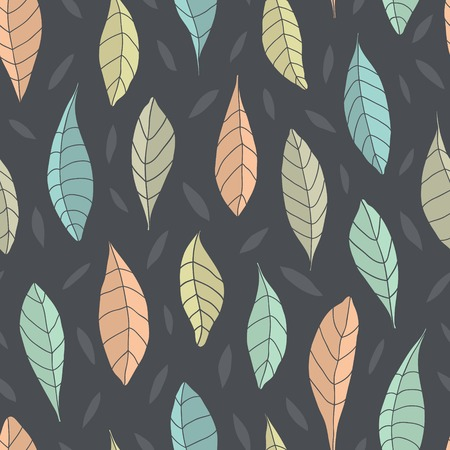 limon: Vector seamless pattern with leaves on dark background Illustration