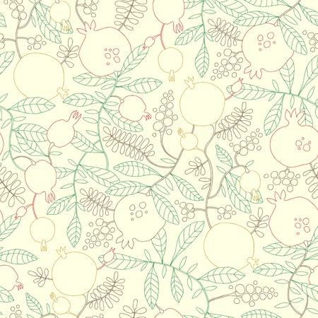 broun: Vector seamless pattern of linear pomegranate and apple tree