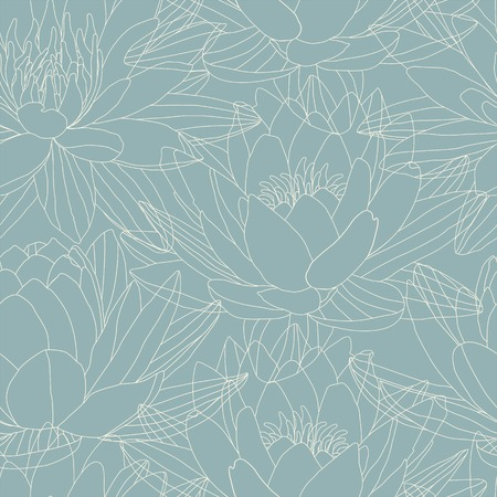 Lotus and water lily flowers in seamless pattern  Vector Vector