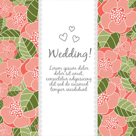 meditative: Vector wedding card with lotus and lily flowers