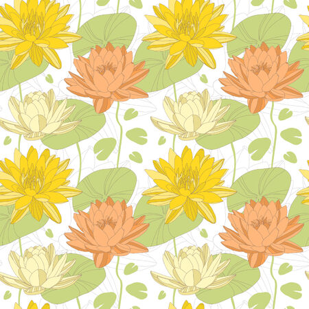 lotus leaf: Lotus and water lily flowers in seamless pattern  Vector Illustration