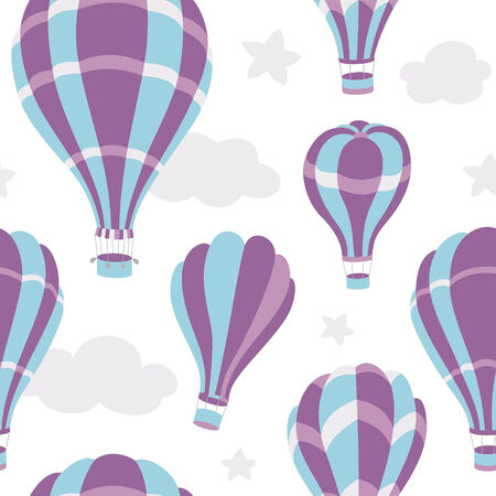 Seamless pattern of colorful hot air balloons on the blue sky Vector