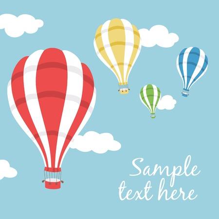 青い空にカラフルな熱気球のベクトル イラスト