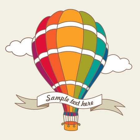 Vector illustration of colorful hot air balloons on the blue sky Ilustração