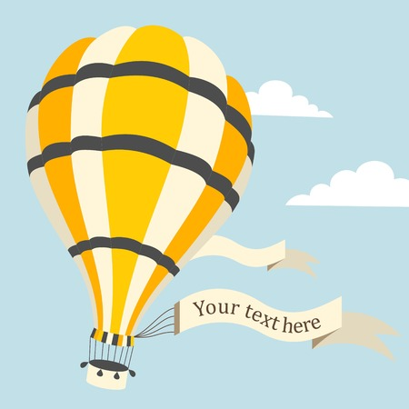 Vector illustration of colorful hot air balloon on the blue sky Vector
