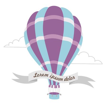 hot air ballon: Vector illustration of colorful hot air balloon on the blue sky