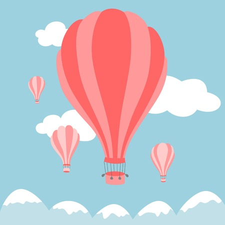 hot: Vector illustration of colorful hot air balloons on the blue sky Illustration