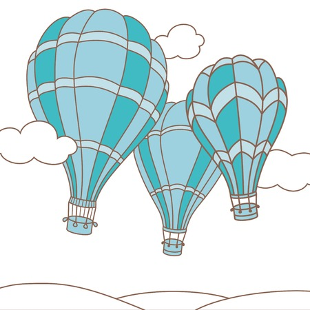Vector illustration of colorful hot air balloons on the sky Vector