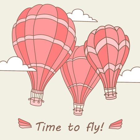 hot air ballon: Vector illustration of colorful hot air balloons on the sky