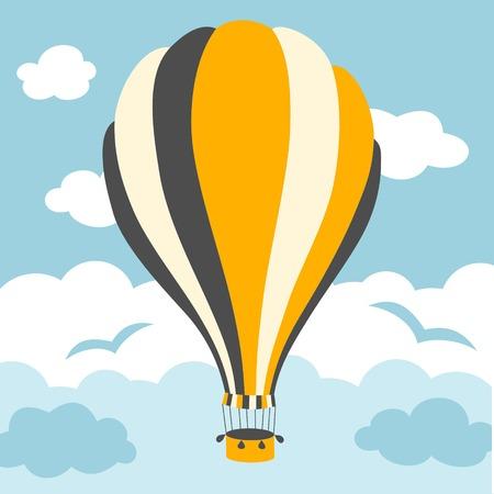 hot air ballon: Vector illustration of colorful hot air balloons on the blue sky Illustration