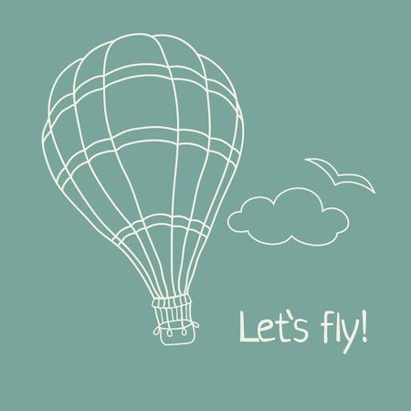 hot air ballon: Vector illustration of hand drawn hot air balloon on the blue sky