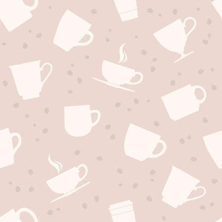 blue white kitchen: Seamless pattern of white teacups. Vector illustration