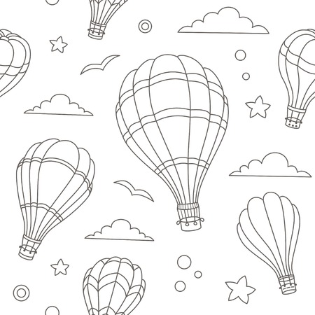 Seamless pattern of colorful hot air balloons on the blue sky