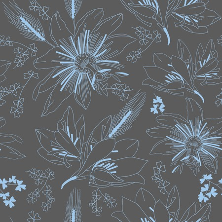 lily vector: Seamless pattern with flowers lily, vector floral illustration in vintage style Illustration