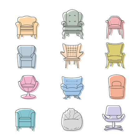 interior decoration: Colorfull armchairs isolated icons set. Vector illustration
