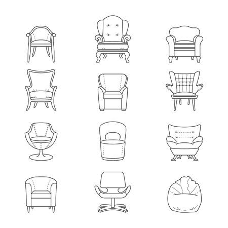 Flat line armchair icons set. Vector illustration