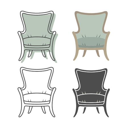 interior design living room: Set of colorfull and silhouette armchairs. Vector illustration