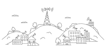 wireless signal: Transmission tower on landscape with wireless signal waves