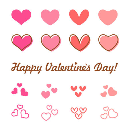 Valentines Day heart icon set. Vector illustration Vector