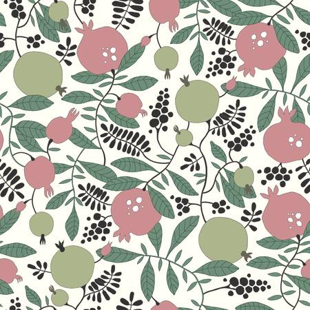 broun: Vector seamless pattern of pomegranate and apple tree Illustration
