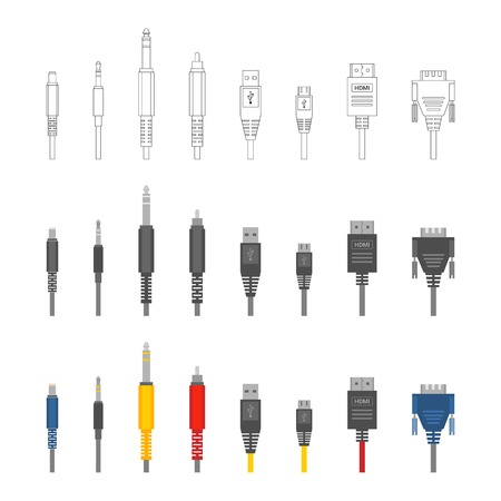 Vector color outline various audio connectors and inputs set