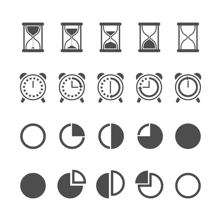 Vector black isolated hourglass icons and clocks set on white background