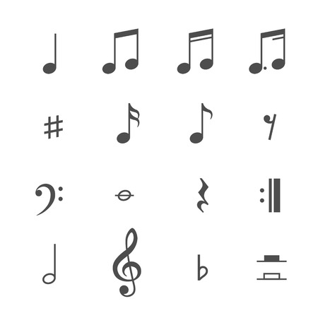 halves: Music notes and icons set. Vector illustration