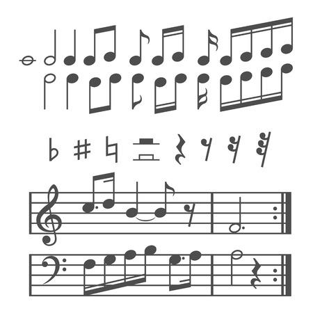 clave de fa: Notas de la música y los iconos conjunto. Ilustración vectorial Vectores