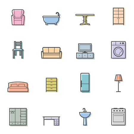 Colorfull home furniture isolated icons set. Vector illustration Vector