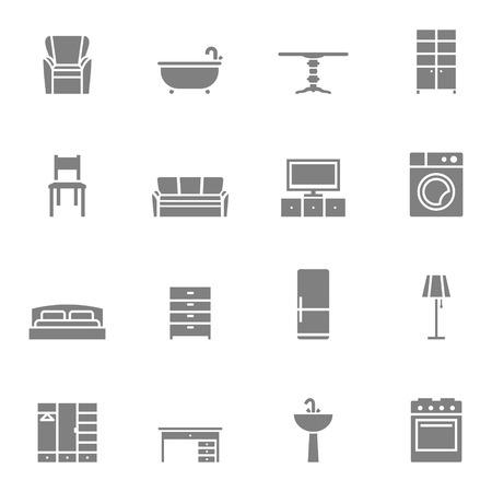 Silhouet meubelen geïsoleerde iconen set. Vector illustratie Stock Illustratie