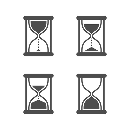 Vector black isolated hourglass icons set on white background Vettoriali