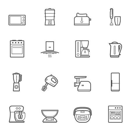mincer: Household kitchen appliances vector line style isolated icon set and symbols Illustration