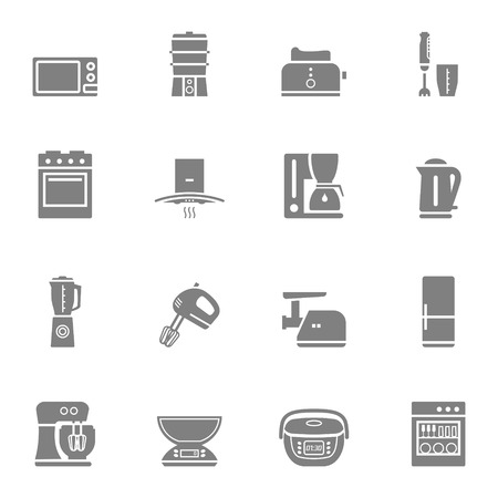 kitchen appliances: Household kitchen appliances vector silhouette isolated icon set and symbols Illustration