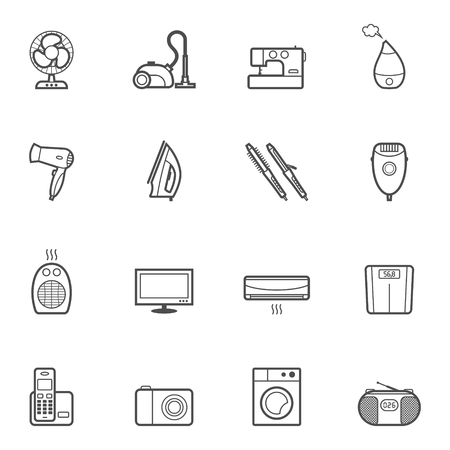 iron fan: Set of vector home appliances and electronics contur icons