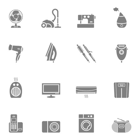 humidifier: Set of vector home appliances and electronics silhouette icons Illustration