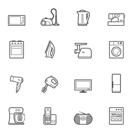 mincer: Set of vector home appliances and electronics contur icons